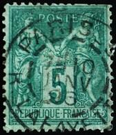 -Sage N°75 Type II   O.  PARIS Rue Lafayette 10 Janv 1896 - 1876-1898 Sage (Type II)