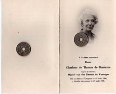 Dame Charlotte De Thomaz De Bossierre Veuve De Messire Marcel Van Der Dussen De Kestergat Née Au Château D'Ottignies - Obituary Notices