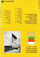 "(Bu-B5) BRD Sonder-Faltkarte ""50 Jahre Freigabe Der Insel Helgoland"" MF Mi 1715+1469 SST 1.3.2002 HELGOLAND + BERLIN  Z. - BRD"
