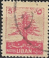 LEBANON 1952 Cedar Of Lebanon -5p - Red FU - Liban