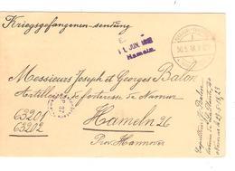 SJ6/ Guerre-Oorlog 14-18 PDG-POW Franchise Càp Namur 30/5/18 V.Camp De Hameln Censure Du Camp - Weltkrieg 1914-18