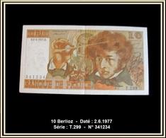 10 Frs - Berlioz -  Daté : 2.6.1977 -  Série : T.299  -  N° 341234 -  En état : NEUF - 10 F 1972-1978 ''Berlioz''