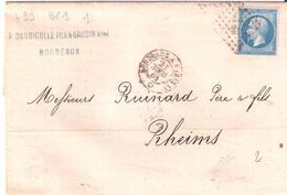 20c.Empire Non Dentelé Oblitéré Losange BP1° Ambulant De Nuit BORDEAUX A PARIS 1° - Postmark Collection (Covers)