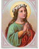 JEUNE FILLE  PRIANT  CHROMO ANCIENNE - Images Religieuses