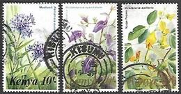 Kenya 1983   Sc#259-61  10sh/20sh/40sh  Flowers  Used  2016 Scott Value $21.50 - Kenya (1963-...)