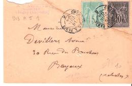 Ambulant De Nuit Type I CHERBOURG A PARIS - Postmark Collection (Covers)
