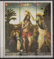 PIA - SMOM - 1985 : San Giovanni Battista - Battesimo Di Gesù - Trittico Di Leonardo E Verrocchio  -  (UN  238-40) - Sovrano Militare Ordine Di Malta