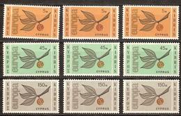 Cept 1965 Chypre Cyprus 3 X Yvertn° 250-52 *** MNH  Cote 150 Euro - Chypre (République)