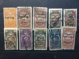 Ecuador - Early Collection Of Fiscal Stamps With Overprints - Ecuador