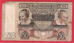 Pays Bas -  50 Gulden  22 /1/1941  -   Pick # 58  -  état  AB - [2] 1815-… : Royaume Des Pays-Bas