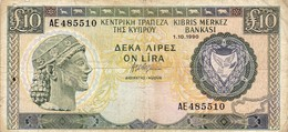 """CYPRUS (GREECE) 10 POUNDS 1990 VG-F P-55a """"free Shipping Via Registered Air Mail"""" - Chypre"""
