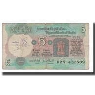 Billet, Inde, 5 Rupees, 1975, KM:80a, B+ - Inde