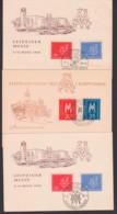 Leipzig Germany Messe 3 Cards MM Je Verschiedene SoSt. Messehof, Petershof Hauptbahnhof, Schaukelpferd Harmonika - DDR