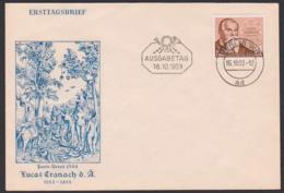 """Lucas Cranach Der Ältere, DDR 384 FDC, Offiz. Umschlag Mit """"Paris-Urteil 1508""""  Griechischen Mythologie, - [6] Oost-Duitsland"""
