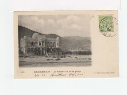Sur Carte Postale Hammam Lif Timbre Régence Tunisie 5 C. Vert Clair CAD Hammam Lif 1904. (2007x) - Tunisia (1888-1955)