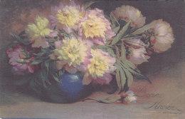 Cpa 2 Scans - Bouquet De Pivoines - Bonne Année - - Fleurs