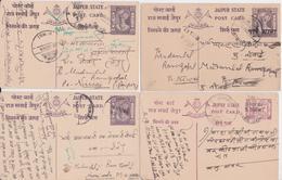 JAIPUR STATE INDIA POST CARD USED POSTAL STATIONERY - LOT OF 8 CARDS - ENTIER POSTAL INDE ETAT PRINCIER - Jaipur