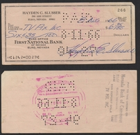 USA FIRST NATIONAL BANK Elko Nevada CHEQUE Endorsed 1966 - Cheques & Traveler's Cheques
