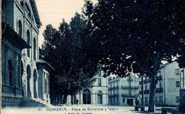 CPA Puigcerda Plaza De Barcelona Y Teatro - Gerona