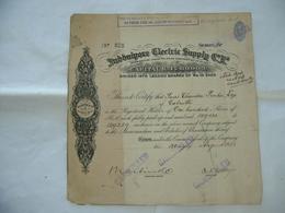 AZIONE CERTIFICATO INDIA JUBBULPORE ELECTRIC SUPPLY MARTIN & C.1928 Rare. - Electricité & Gaz