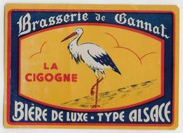 """03 - GANNAT - BIERE -  ETIQUETTE  - BRASSERIE - """" La Cigogne """" - Type Alsace - Bière"""