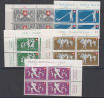 Switzerland 1951 Pro Patria 5v Bl Of 4 ** Mnh (42160) - Pro Patria
