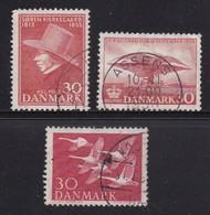 DENMARK, 1955, Used Stamp(s), Various Stamps,  Mi 362=365, #10070,  3 Values Only - Denemarken