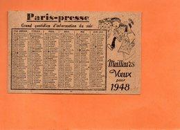 """CALENDRIER. MEILLEURS VOEUX. 1948. JOURNAL """" PARIS - PRESSE """". Achat Immédiat - Calendriers"""