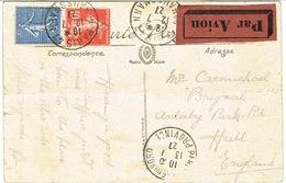 TARIF CPA AVION POUR L'ANGLETERRE - Marcophilie (Lettres)