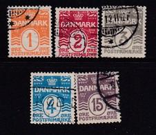 DENMARK, 1905, Used Stamp(s), Definitives, Numbers,   Mi 42-46, #10012, Complete - 1905-12 (Frederik VIII)