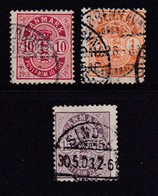 DENMARK, 1912, Used Stamp(s), Definitives, Numbers,   Mi 63-65, #10013, 3 Values Only - 1905-12 (Frederik VIII)