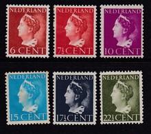 NEDERLAND 1940 Unused Hinged Stamp(s) Wilhelmina6values 341=350 #280 - Period 1891-1948 (Wilhelmina)