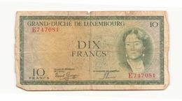 Grand-duché Du Luxembourg Billet De 10 Francs - Luxembourg