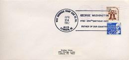 USA -  PLYMOUTH MI   - GEORGE  WASHINGTON  250th Birthday  -  FATHER OF OUR COUNTRY - Celebrità