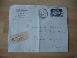 Enveloppe Commerciale Hotel Terminus Irun Recommande Hendaye Timbre Joaillerie Seul Sur Lettre - Marcophilie (Lettres)