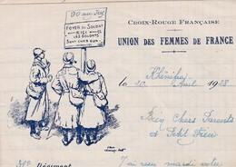 BELLE LETTRE CROIX ROUGE FRANCAISE / UNION DES FEMMES DE FRANCE DEPART KHENIFRA 1928 / 31 E REGIMENT / 3 E COMPAGN - Marcofilie (Brieven)