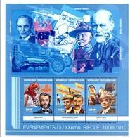 CENTRAFRIQUE 1662/64 XXéme Siecle, Dunant, Frêres Wright, Caruso, Ford, Baden-Powel Scout, Blériot, Freud, Pétrole - Célébrités
