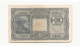 Italie Billet De 10 Lires - [ 2] 1946-… : République