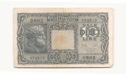 Italie Billet De 10 Lires - [ 2] 1946-… : Repubblica