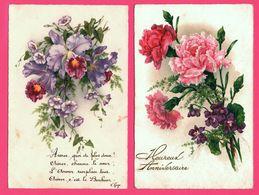 2 Cp - Fantaisie - Fleurs - Violettes - Oeillets - Heureux Anniversaire - Poème Hugo - M.N. - Blumen