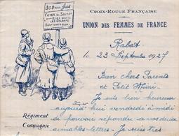 BELLE LETTRE CROIX ROUGE FRANCAISE / UNION DES FEMMES DE FRANCE DEPART RABAT 1927 / - Marcofilie (Brieven)
