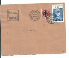 """Lettre Libération Paris Avec Vignette FFI Et Cachet """"Paris Libéré"""", 1944 - Liberation"""