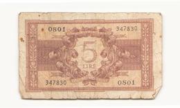 Italie Billet De 5 Lires - [ 1] …-1946: Königreich