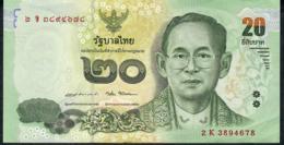 THAILAND P130 20 BAHT Dated 2015 (issued 2017) Signature 87  #2K   VF - Thaïlande