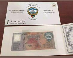 Kuwait 1 Dinar Banknote, 1993, P-CS1, UNC, 2nd Anniversary Liberation In Folder - Kuwait