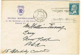 ENVELOPPE  A EN-TETE HOTEL RICHEPANSE PARIS ADRESSEE AUX USA - Marcophilie (Lettres)