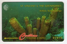 SAINT VINCENT Et GRENADINES REF MVCARDS STV-101A CABLE & WIRELESS 1996 10$ 101CSVA YELLOW TUBE SPONGE - St. Vincent & The Grenadines