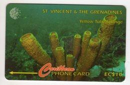 SAINT VINCENT Et GRENADINES REF MVCARDS STV-142B CABLE & WIRELESS 1997 10$ 142CSVB YELLOW TUBE SPONGE - St. Vincent & The Grenadines