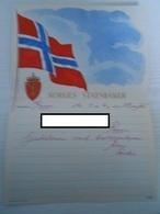 Norwegen Norway Schmuck Telegramm LX 21 Norges Statsbaner 1952 Rygge Norwegenflagge - Norvège