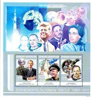 CENTRAFRIQUE 1677/79 XXéme Siecle, De Gaulle, Gagarine, Armstrong, Kennedy M Luther King, Pr Barnard - Famous People